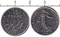 Изображение Барахолка Франция 1/2 франка 1991 Медно-никель F