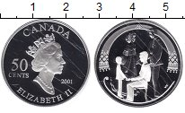 Изображение Монеты Канада 50 центов 2001 Серебро Proof- Елизавета II. Семья