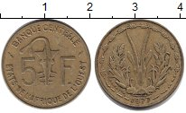 Изображение Монеты Западная Африка 5 франков 1977 Медь XF