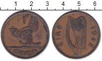 Изображение Монеты Ирландия 1 пенни 1942 Бронза XF Курица с цыплятами.