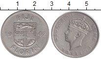 Изображение Монеты Фиджи 1 флорин 1942 Серебро  Георг VI