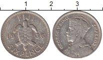 Изображение Монеты Фиджи 6 пенсов 1936 Серебро XF