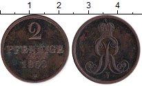 Изображение Монеты Ганновер 2 пфеннига 1853 Медь VF Георг V