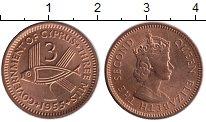 Изображение Монеты Кипр 3 милс 1955 Бронза UNC
