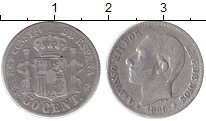 Изображение Монеты Испания 50 сентаво 1885 Серебро VF
