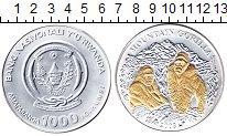Изображение Монеты Руанда 1000 франков 2008 Серебро Proof Позолота. Горная гор