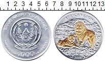 Изображение Монеты Руанда 1000 франков 2008 Серебро Proof Позолота. Африкански