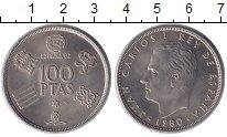 Изображение Монеты Испания 100 песет 1980 Медно-никель UNC Хуан Карлос I. Чемпи