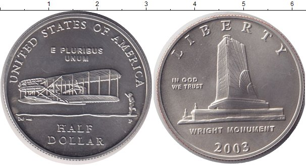 Продажа монеты америки 1/2 доллара состояние unc. 2003 года .