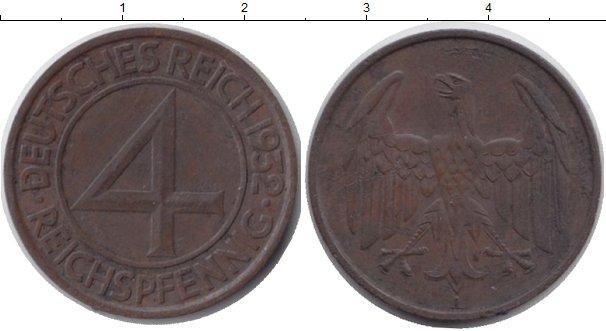 Картинка Монеты Веймарская республика 4 пфеннига Бронза 1932