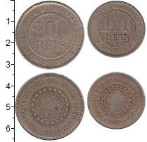Изображение Наборы монет Бразилия 100  и  200  рейсов 1889 Медно-никель XF В наборе 2 монеты но