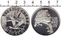 Изображение Монеты Швеция 20 экю 1995 Серебро Proof Карл фон Линней