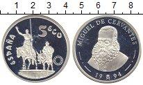 Изображение Монеты Испания 5 экю 1994 Серебро Proof Сервантес. Дон Кихот