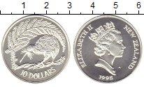 Изображение Монеты Новая Зеландия 10 долларов 1998 Серебро UNC Елизавета II. Птица