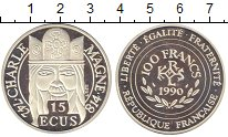 Изображение Монеты Франция 100 франков 1990 Серебро Proof Карл I Великий.
