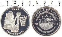 Изображение Монеты Либерия 20 долларов 2004 Серебро Proof Баскетбол.
