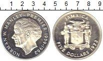 Изображение Монеты Ямайка 5 долларов 1973 Серебро Proof Норман Мэнли - Премь