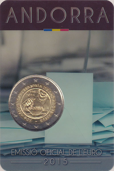 Изображение Подарочные монеты Андорра 2 евро 2015 Биметалл UNC Совершеннолетие в 18