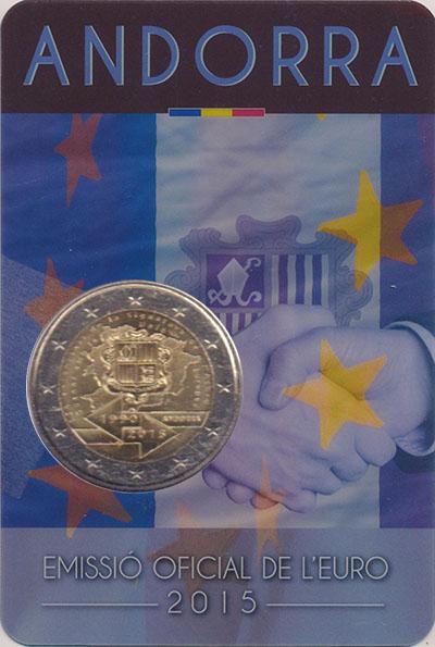 Изображение Мелочь Андорра 2 евро 2015 Биметалл UNC 25 лет Таможенного с