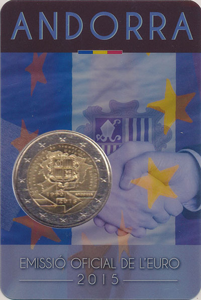 Изображение Мелочь Андорра 2 евро 2015 Биметалл UNC