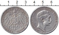 Изображение Монеты Пруссия 3 марки 1909 Серебро VF