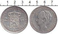 Изображение Монеты Нидерланды 2 1/2 гульдена 1939 Серебро XF Королева Вильгельмин