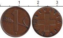 Изображение Монеты Швейцария 1 рапп 1951 Медь XF