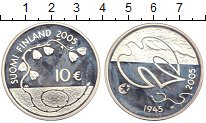 Изображение Монеты Финляндия 10 евро 2005 Серебро Proof 60 - летие окончания