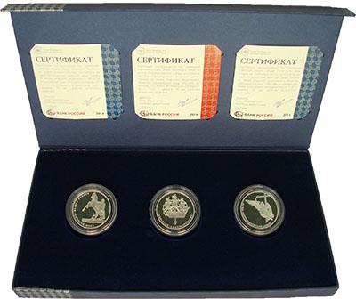 Изображение Подарочные монеты Россия Виды Санкт-Петербурга 2014 Серебро Prooflike В набор входят три п