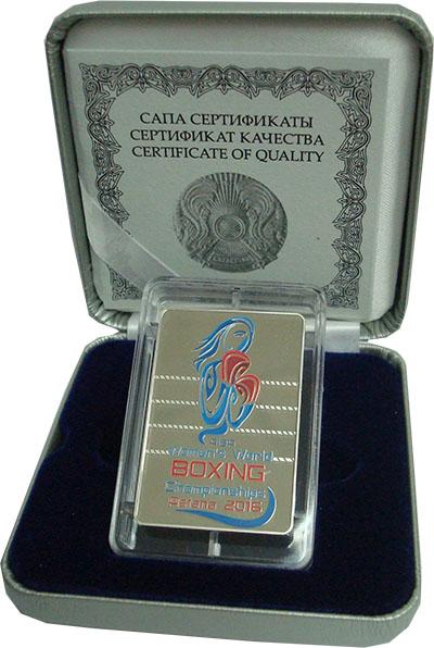 Изображение Подарочные монеты Казахстан 100 тенге 2016 Серебро Proof Чемпионат мира по бо