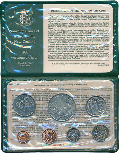 Изображение Подарочные монеты Новая Зеландия Набор 1980 года 1980  UNC В набор входят семь