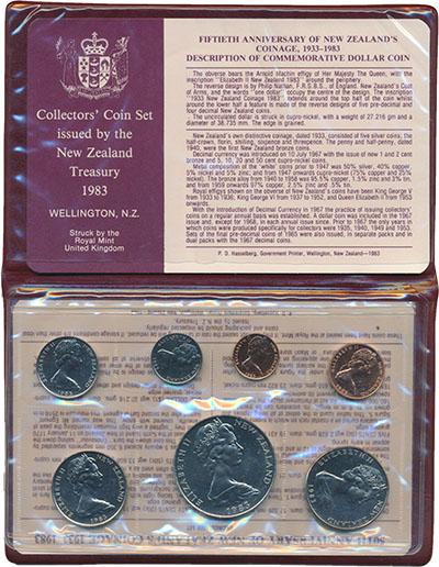 Изображение Подарочные монеты Новая Зеландия Набор 1983 года 1983  UNC В набор входят семь
