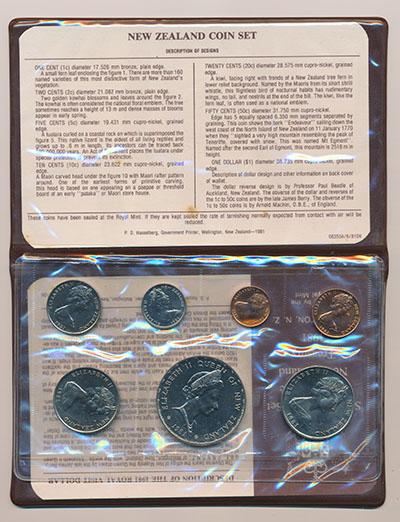 Изображение Подарочные монеты Новая Зеландия Набор 1981 года 1981  UNC В набор входят семь