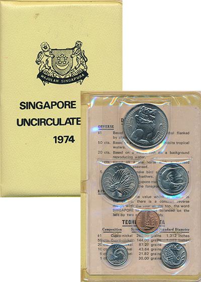Изображение Подарочные монеты Сингапур Набор 1974 года 1974  UNC Набор из шести цирку