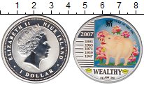 Изображение Монеты Ниуэ 1 доллар 2007 Серебро Proof- Елизавета II. Год ка