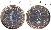 Изображение Мелочь Аргентина 2 песо 2016 Биметалл UNC- 200 лет Независимост