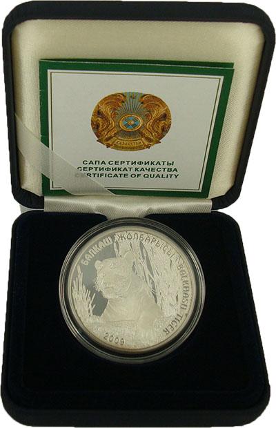 Изображение Подарочные монеты Казахстан 500 тенге 2009 Серебро Proof Балхашский тигр. (Се