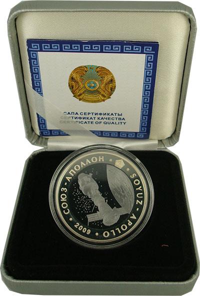Изображение Подарочные монеты Казахстан Союз-Аполлон 2009 Серебро Proof `500 тенге (серебро