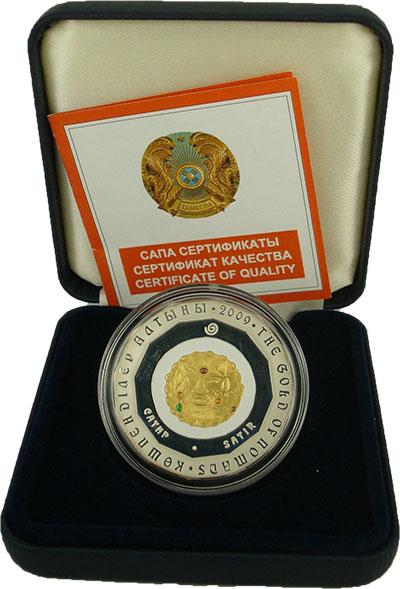 Изображение Подарочные монеты Казахстан Золото номадов 2009 Серебро Proof- `Монета номиналом 50