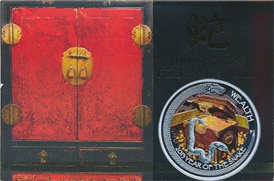 Изображение Подарочные монеты Тувалу Год змеи 2013 Серебро Proof Монета номиналом 1 д