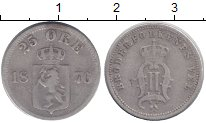 Изображение Монеты Норвегия 25 эре 1876 Серебро XF Оскар II.