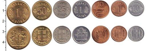 Изображение Наборы монет Исландия Исландия 1965-1981 1965  XF В наборе 7 монет ном