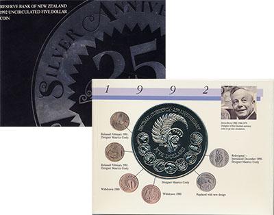 Изображение Подарочные монеты Новая Зеландия 25 лет перехода на десятичную систему 1992 Медно-никель UNC Монета номиналом 5 д