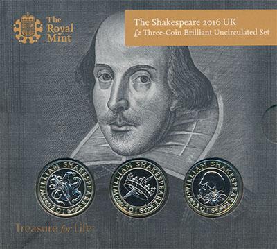 Изображение Подарочные монеты Великобритания Уильям Шекспир 2016 Биметалл BUNC `Три монеты номинало