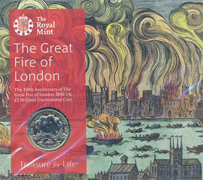 Изображение Подарочные монеты Великобритания Лондонский пожар 2016 Биметалл BUNC Монета 2 фунта (биме
