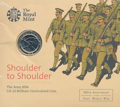 Изображение Подарочные монеты Великобритания Приятельские батальоны 2016 Биметалл BUNC Монета 2 фунта (биме