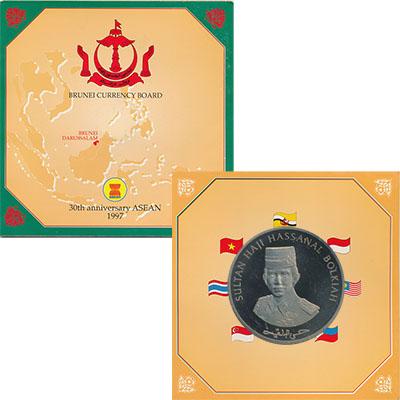 Изображение Подарочные монеты Бруней 30 лет АСЕАН 1997 Медно-никель UNC Монета номиналом 3 д