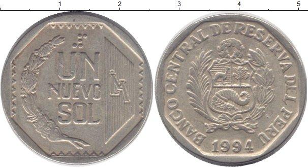 Картинка Дешевые монеты Перу 1 нуэво соль Медно-никель 1994