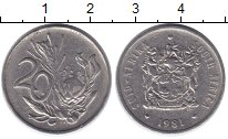 Изображение Дешевые монеты ЮАР 20 центов 1981 Медно-никель XF