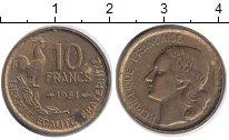 Изображение Дешевые монеты Франция 10 франков 1951 Латунь XF